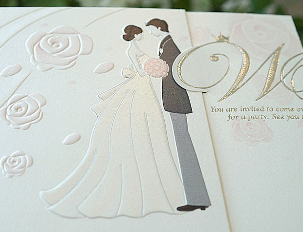 Classic Bride Groom Flower Embossed Z Fold Invitation Card 10set – Embossed Invitation Cards