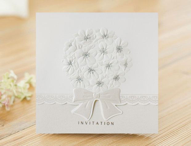 Modern Flower Ribbon Embossed Gate Fold Invitation Card 10set – Embossed Invitation Cards
